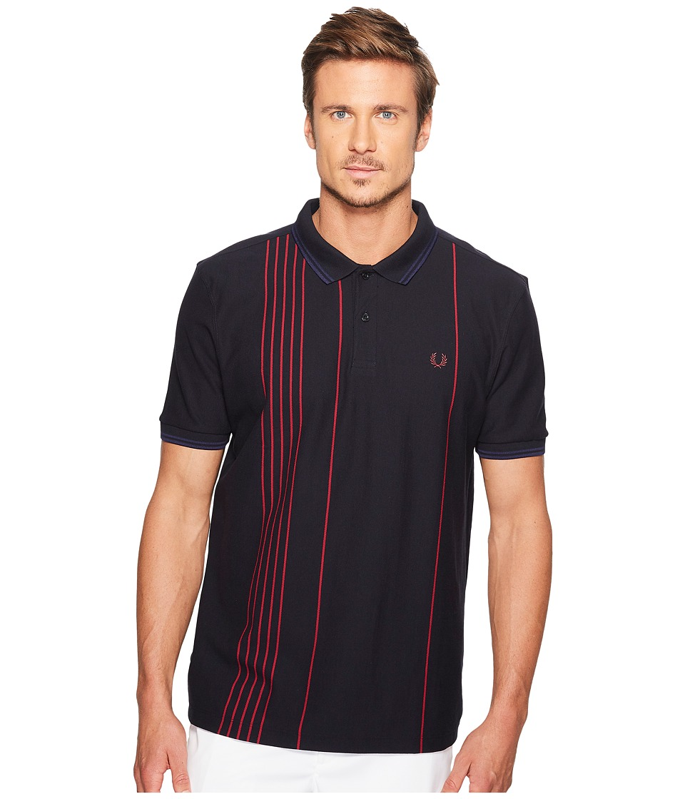 Fred Perry - Vertical Stripe Pique Shirt (Navy) Men's Clothing