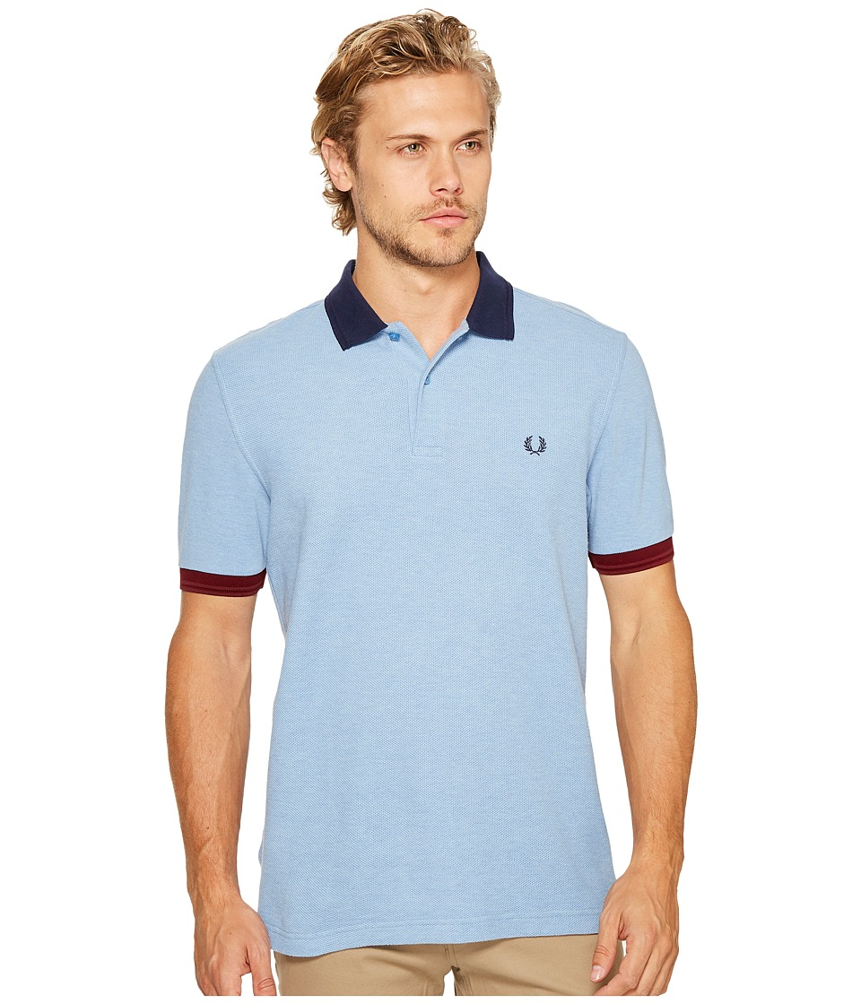 Fred Perry - Colour Block Pique Shirt (Sky Blue Marl) Men's Short Sleeve Pullover