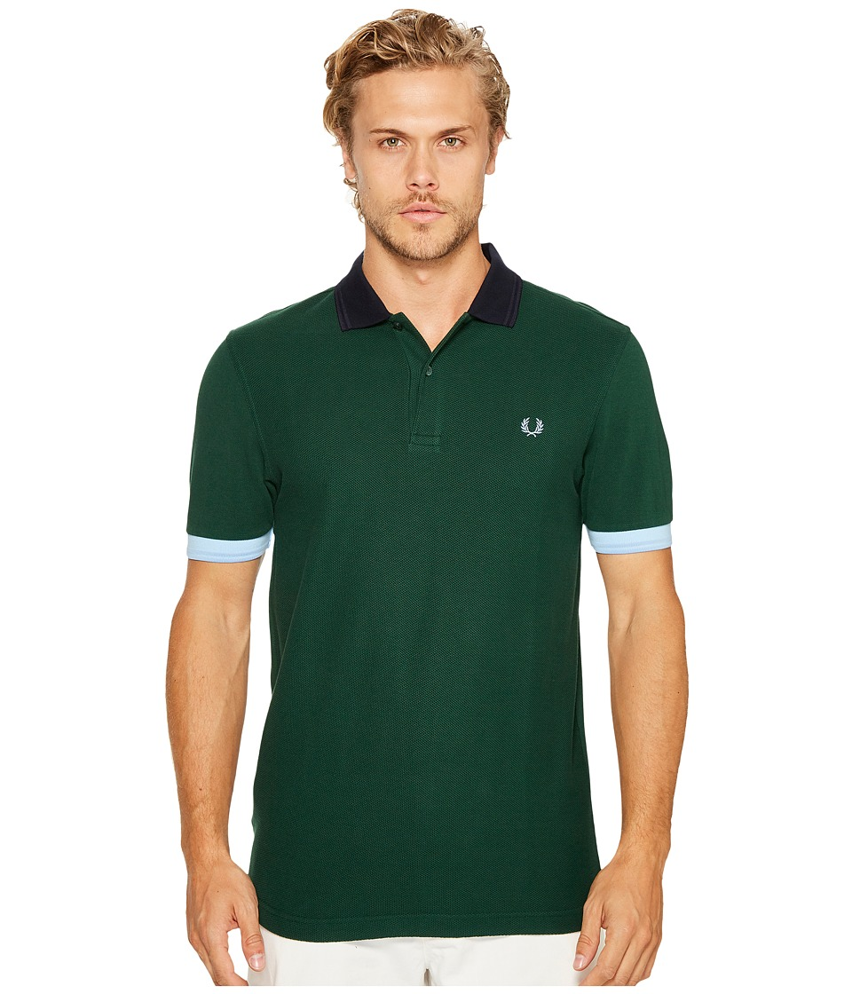 Fred Perry - Colour Block Pique Shirt (Ivy) Men's Short Sleeve Pullover