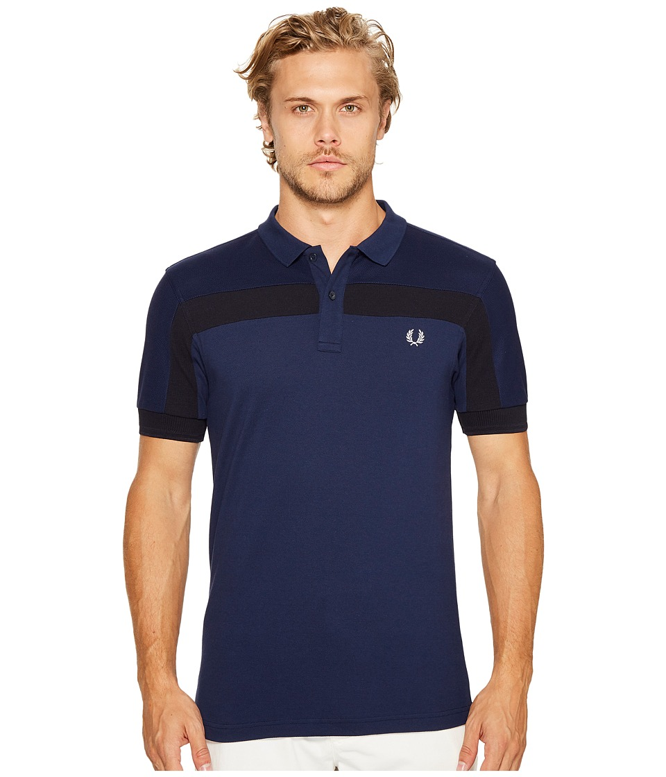 Fred Perry - Textured Panelled Pique Shirt (Navy) Men's Clothing