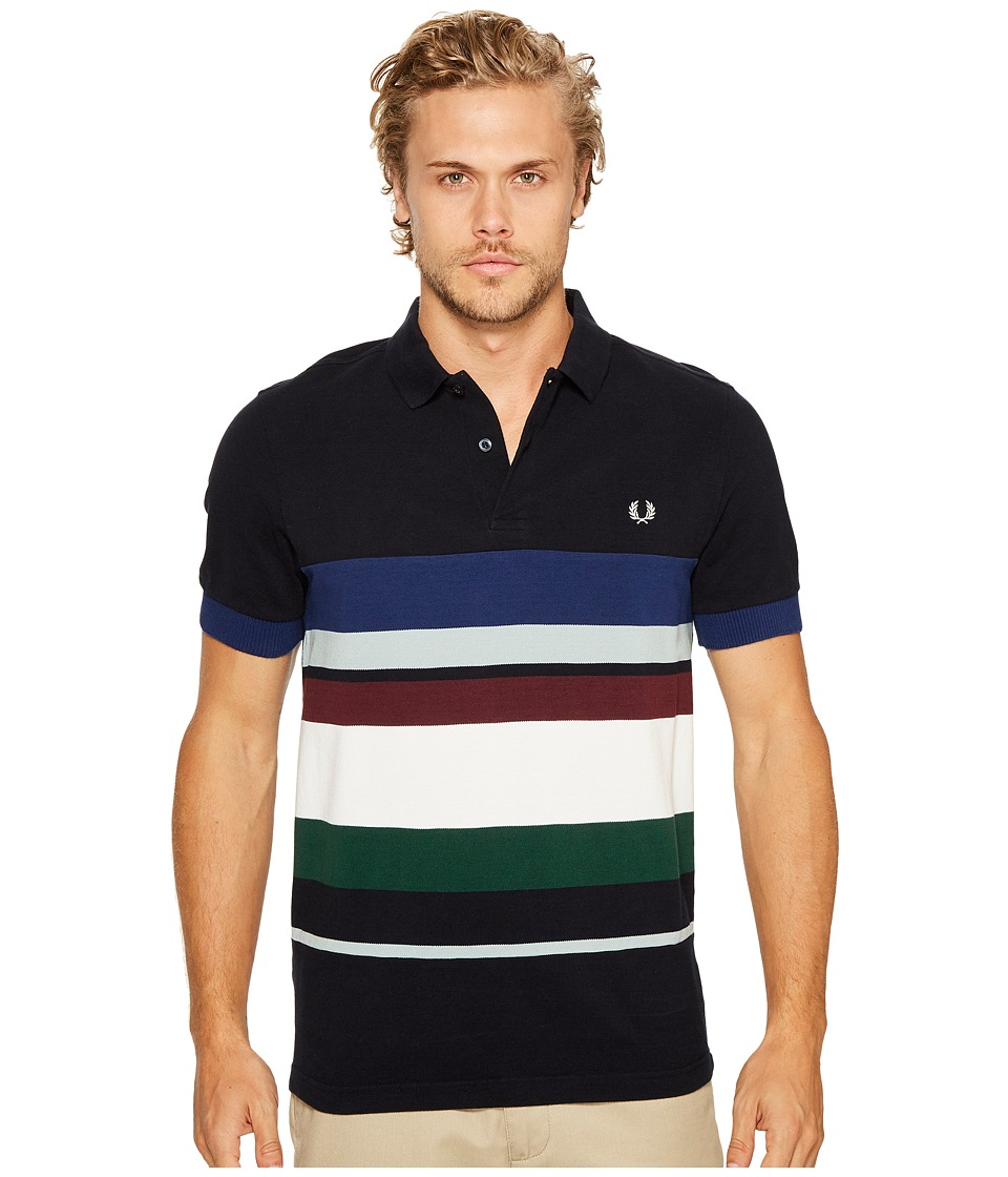 Fred Perry - Multi Stripe Pique Shirt (Navy) Men's Clothing