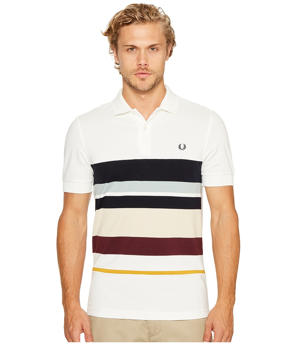 Fred Perry - Multi Stripe Pique Shirt (Snow White) Men's Clothing