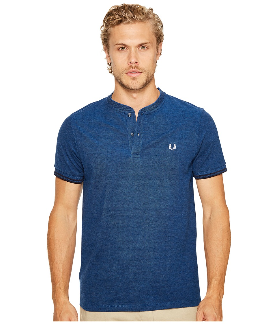 Fred Perry - Pique Henley T-Shirt (Medieval Blue/Black Oxford) Men's T Shirt