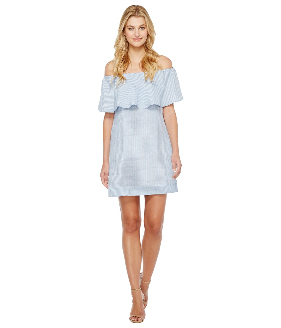 7 For All Mankind - Striped Off Shoulder Dress (Light Blue/White Stripe) Women's Dress