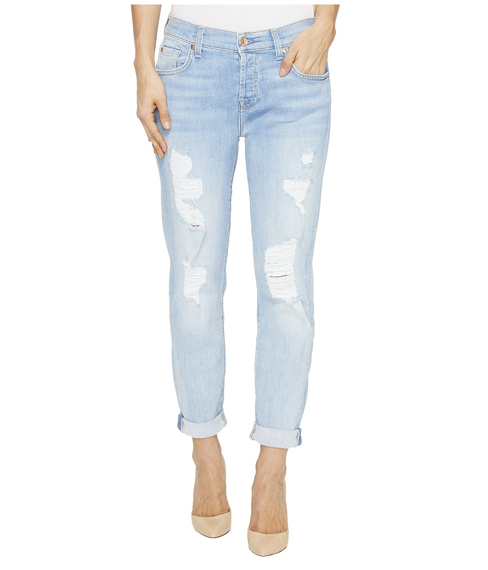 7 For All Mankind - Josefina Boyfriend w/ Destroy in Ocean Breeze (Ocean Breeze) Women's Jeans