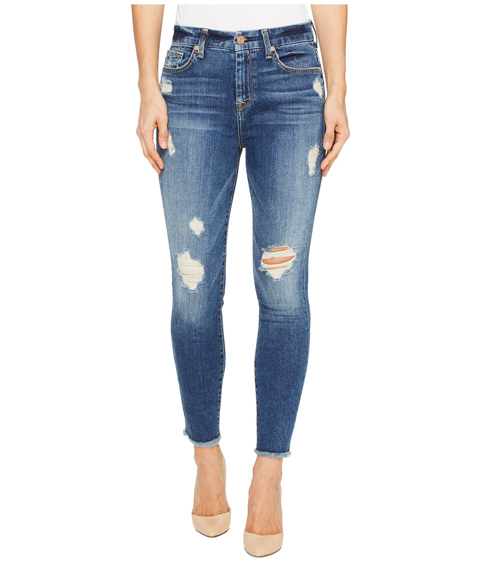 7 For All Mankind - High Waisted Ankle Skinny w/ Release Hem in Serratoga Bay (Serratoga Bay) Women's Jeans