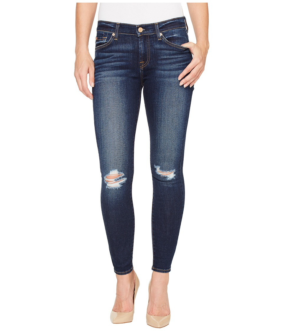7 For All Mankind The Ankle Skinny w/ Knee Holes in Dark Paradise (Dark Paradise) Women