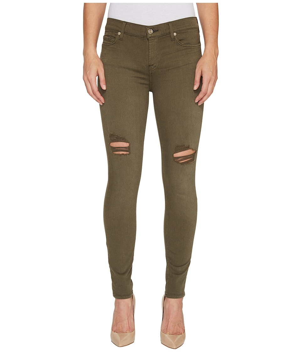 7 For All Mankind - The Ankle Skinny Jeans w/ Destroy in Olive (Olive) Women's Jeans