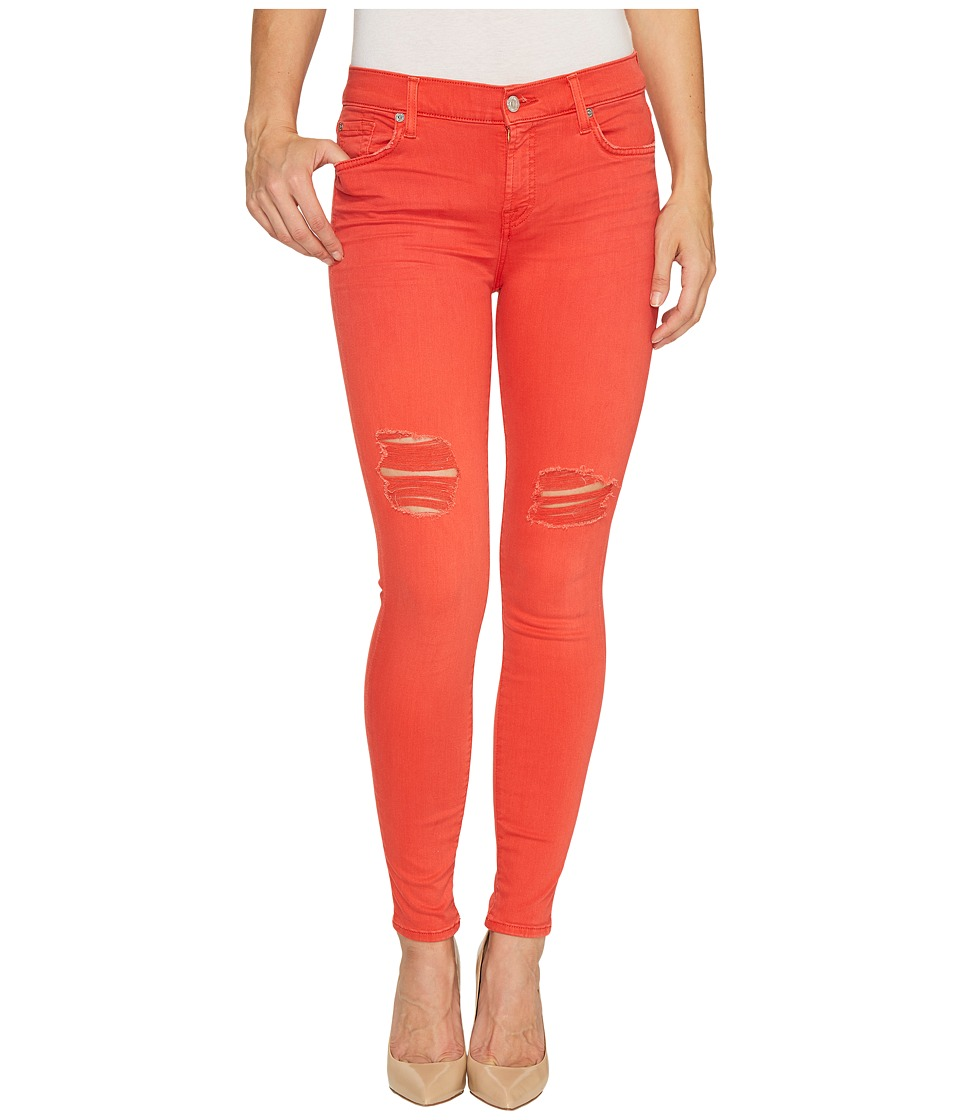 7 For All Mankind - The Ankle Skinny Jeans w/ Destroy in Hibiscus (Hibiscus) Women's Jeans
