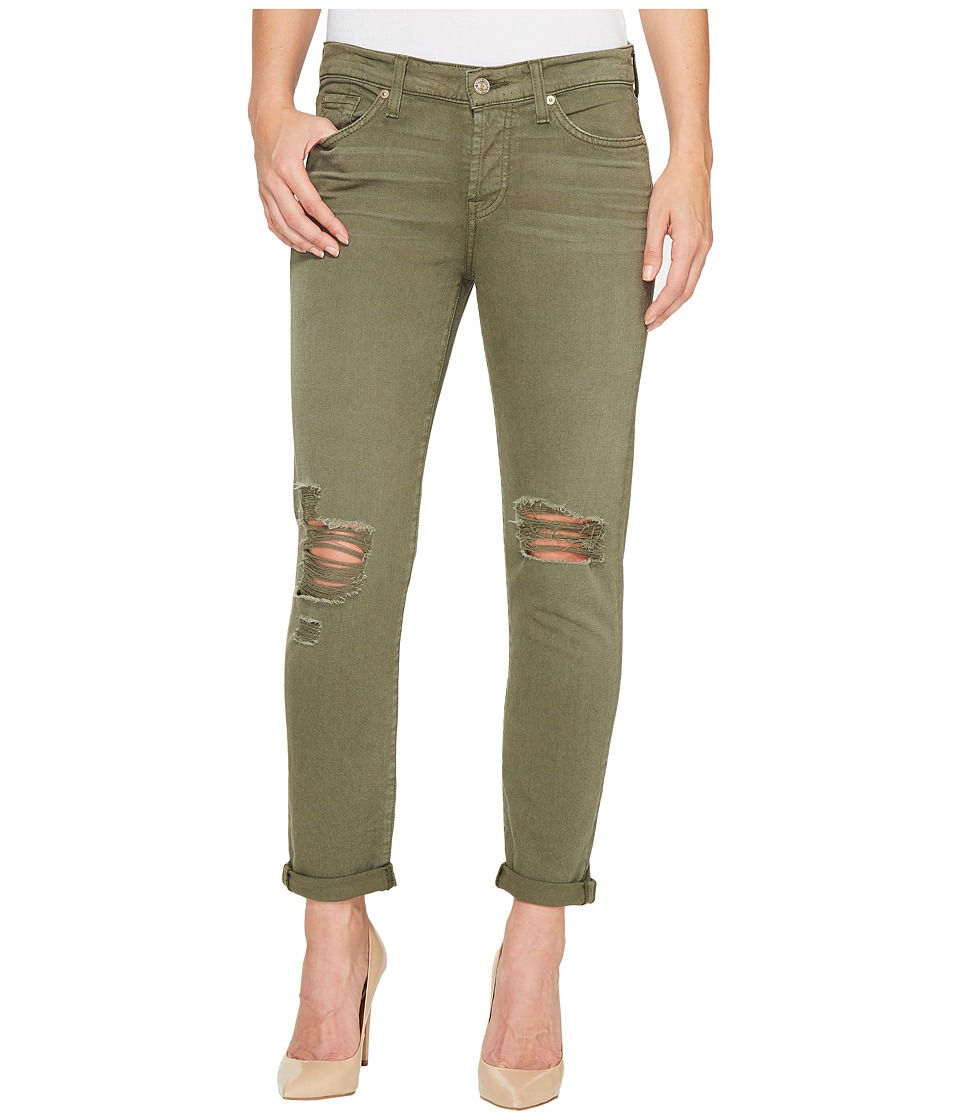 7 For All Mankind - Josefina Jeans w/ Destroy in Olive (Olive) Women's Jeans