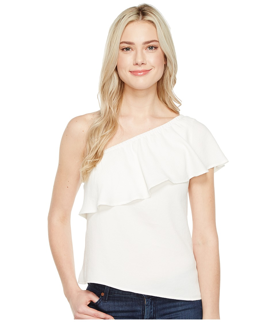 7 For All Mankind - One Shoulder Ruffle Top (Soft White) Women's Clothing