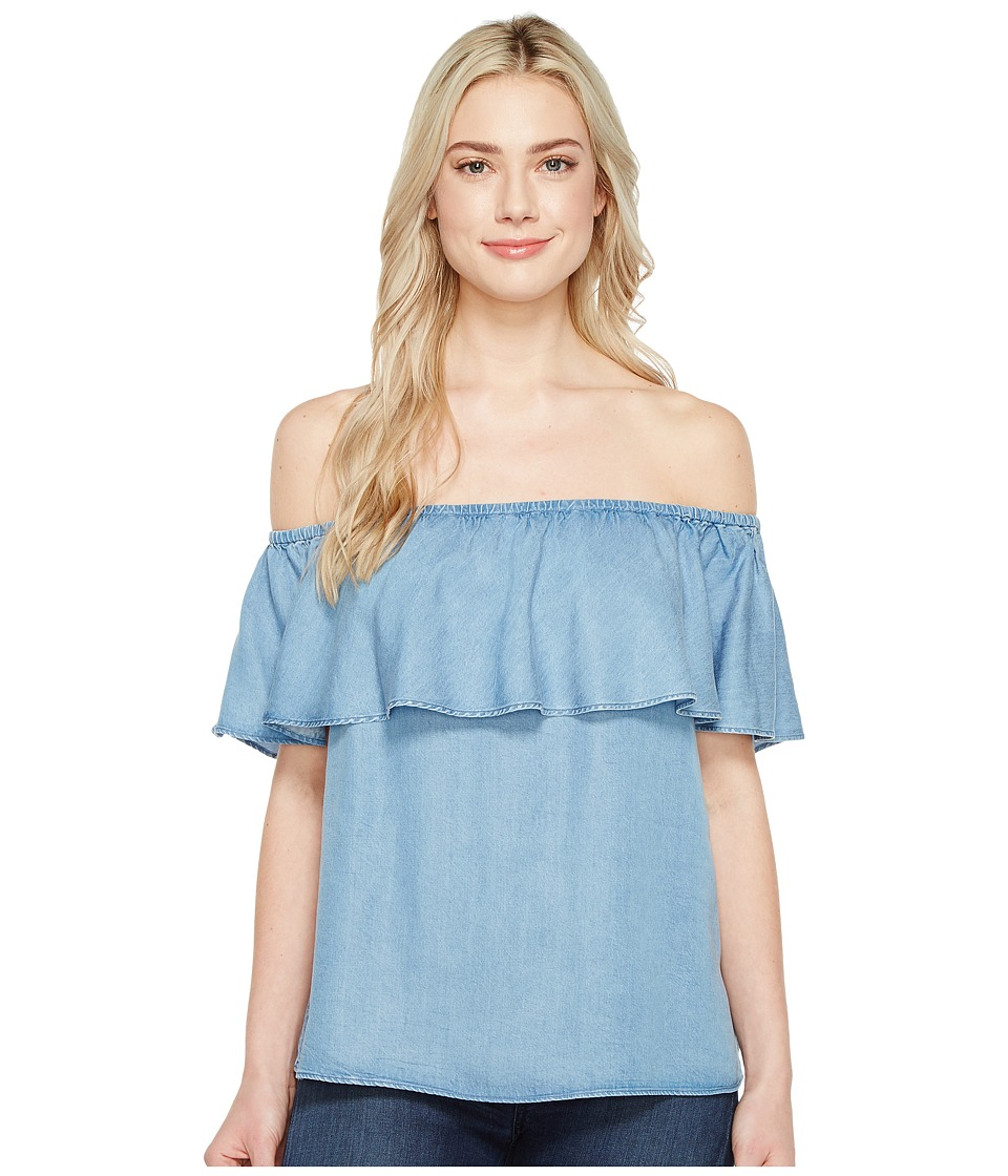 7 For All Mankind - Off Shoulder Ruffled Denim Top (Pacific Blue Sky) Women's Clothing