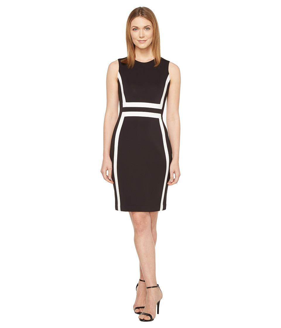 Calvin Klein - Color Block Scuba Sheath Dress CD7M1V5K (Black/White) Women's Dress