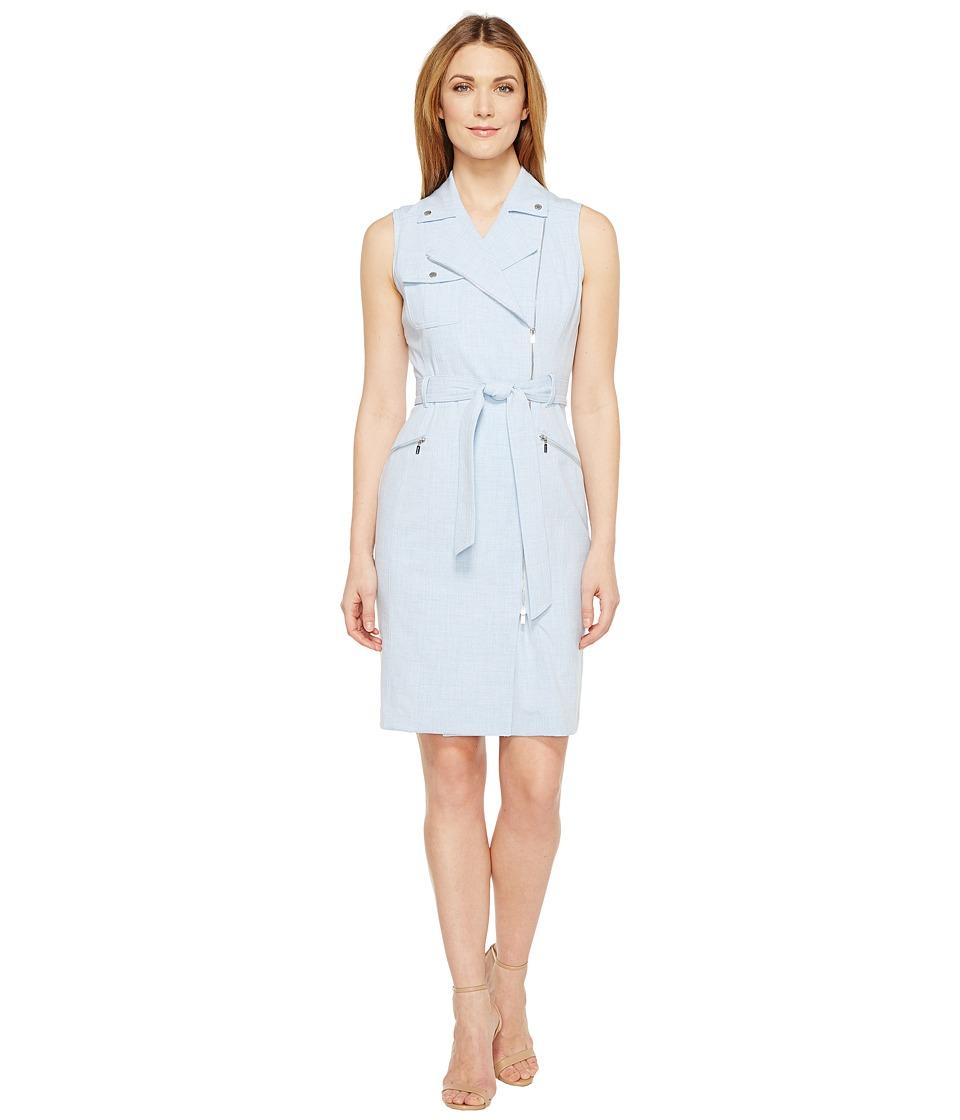 Calvin Klein Moto Belted Dress CD6X55F7 (Regatta/White) Women