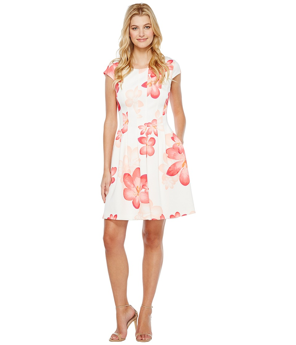Calvin Klein Cap Sleeve Floral Fit Flare Dress