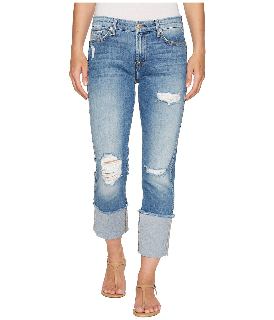 7 For All Mankind - Fashion Boyfriend Jeans w/ Wide Raw Cuff Destroy in Vintage Air Classic 3 (Vintage Air Classic 3) Women's Jeans