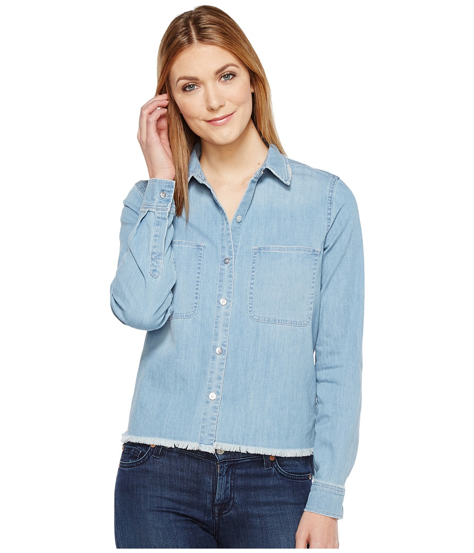 7 For All Mankind - Step Hem Denim Shirt in Skyway Authentic Blue (Skyway Authentic Blue) Women's Long Sleeve Button Up