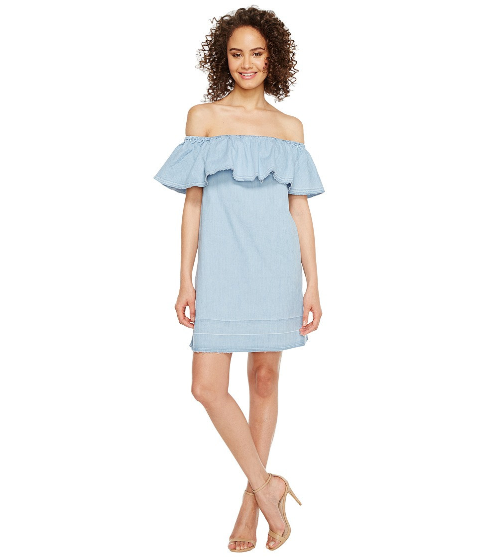 7 For All Mankind - Off the Shoulder Denim Dress w/ Released Hem in Cool Wave Blue (Cool Wave Blue) Women's Dress