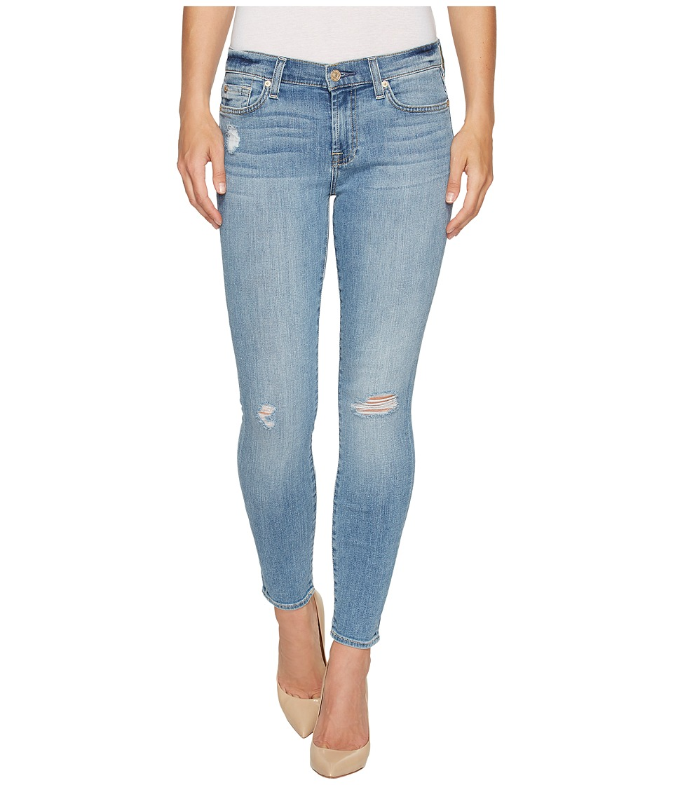 7 For All Mankind - Ankle Skinny Jeans w/ Squiggle Destroy in Willow Ridge 2 (Willow Ridge 2) Women's Jeans