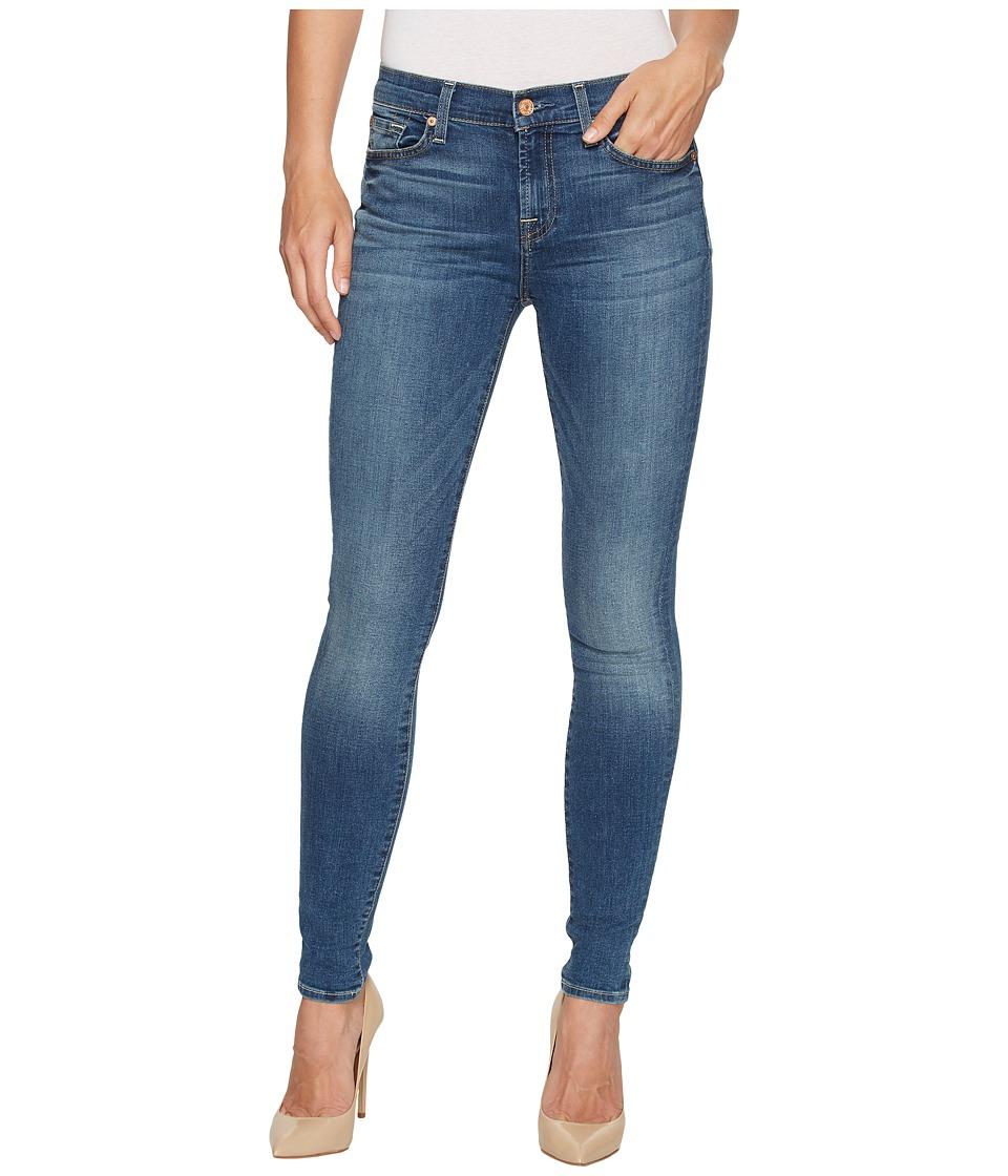 7 For All Mankind Skinny Jeans w/ Squiggle in Rich Coastal Blue (Rich Coastal Blue) Women