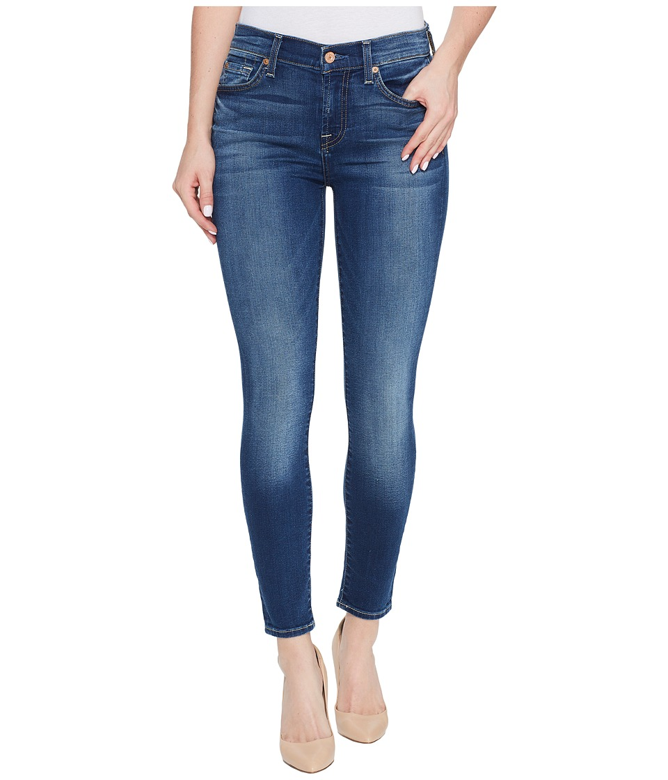 7 For All Mankind Cropped Skinny Jeans w/ Squiggle in Rich Coastal Blue (Rich Coastal Blue) Women