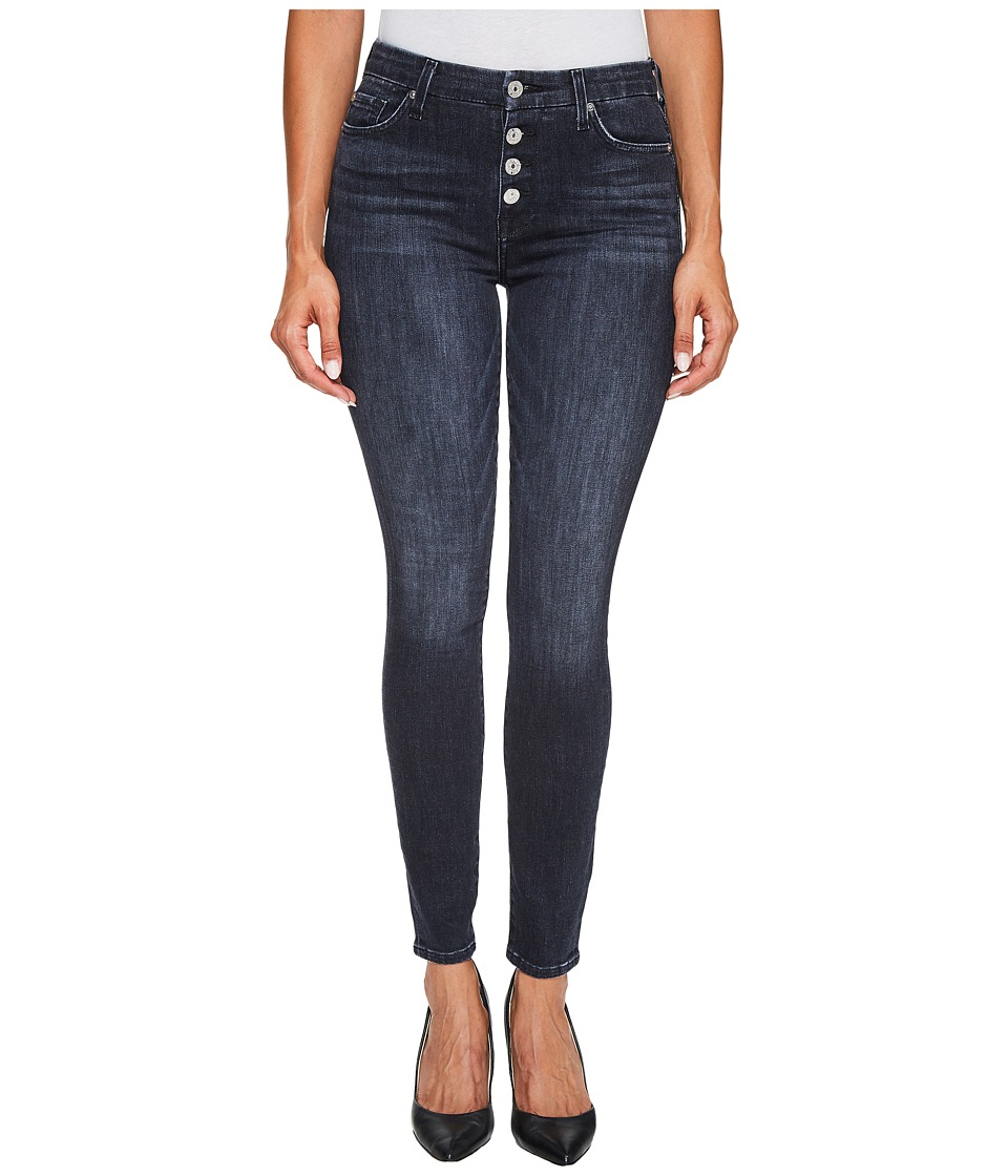 7 For All Mankind - The High Waist Ankle Jeans w/ Exposed Button Fly in Authentic Black (Authentic Black) Women's Jeans