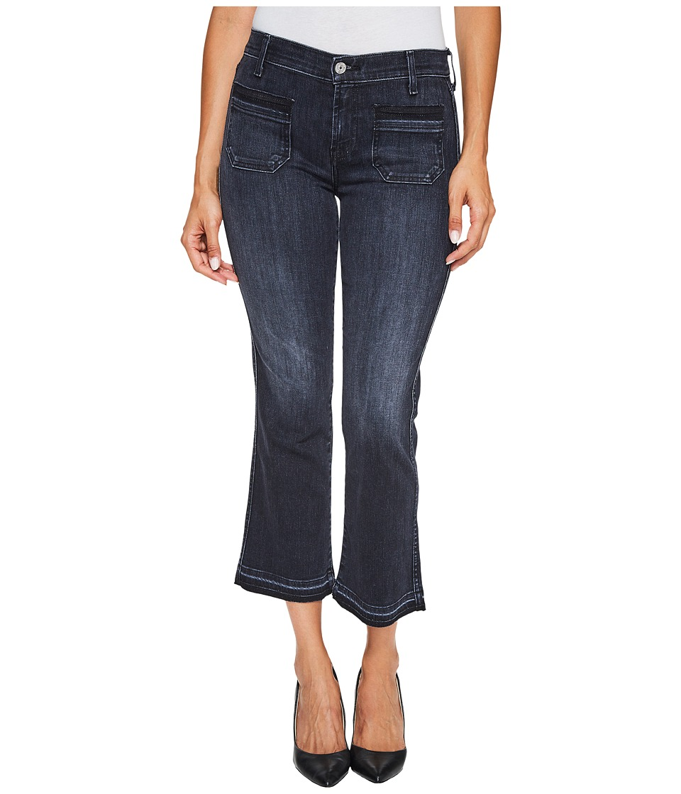 7 For All Mankind - Cropped Boot Jeans w/ Front Released Pockets Released Hem in Authentic Black 2 (Authentic Black 2) Women's Jeans