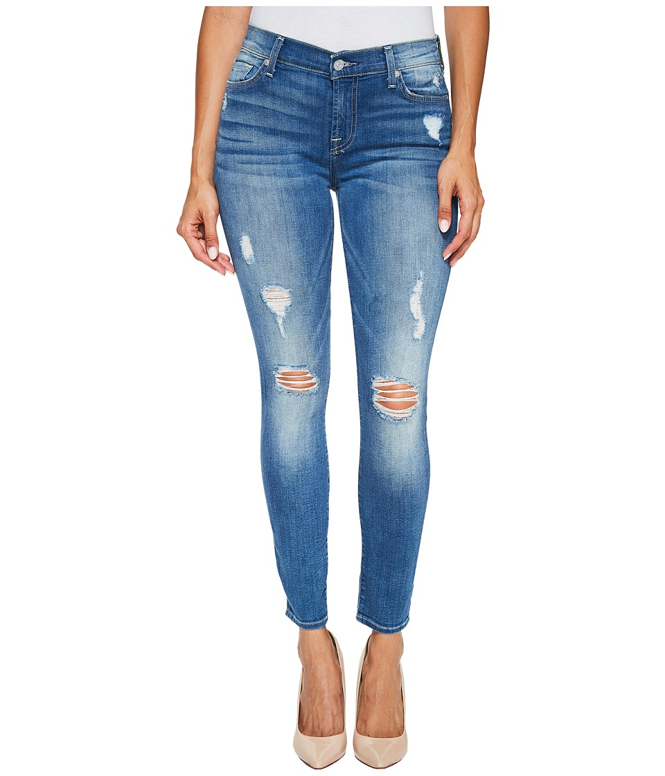 Image of 7 For All Mankind - Ankle Skinny Jeans w/ Destroy in Radient Pier (Radient Pier) Women's Jeans