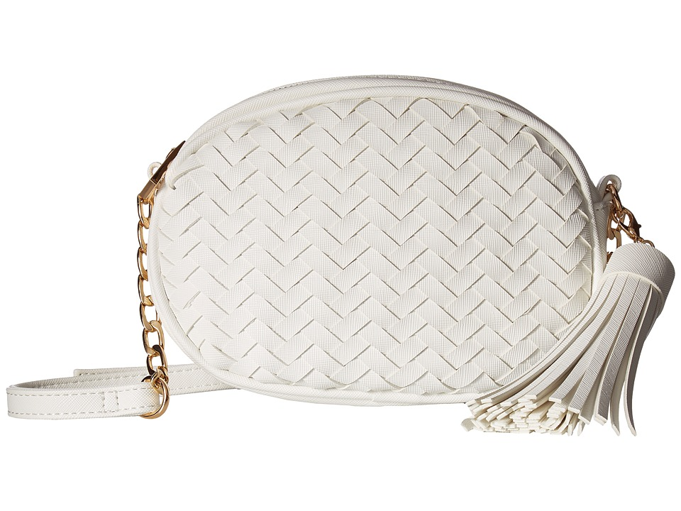 Deux Lux - Sullivan Oval Weave Crossbody with Tassel (White) Cross Body Handbags
