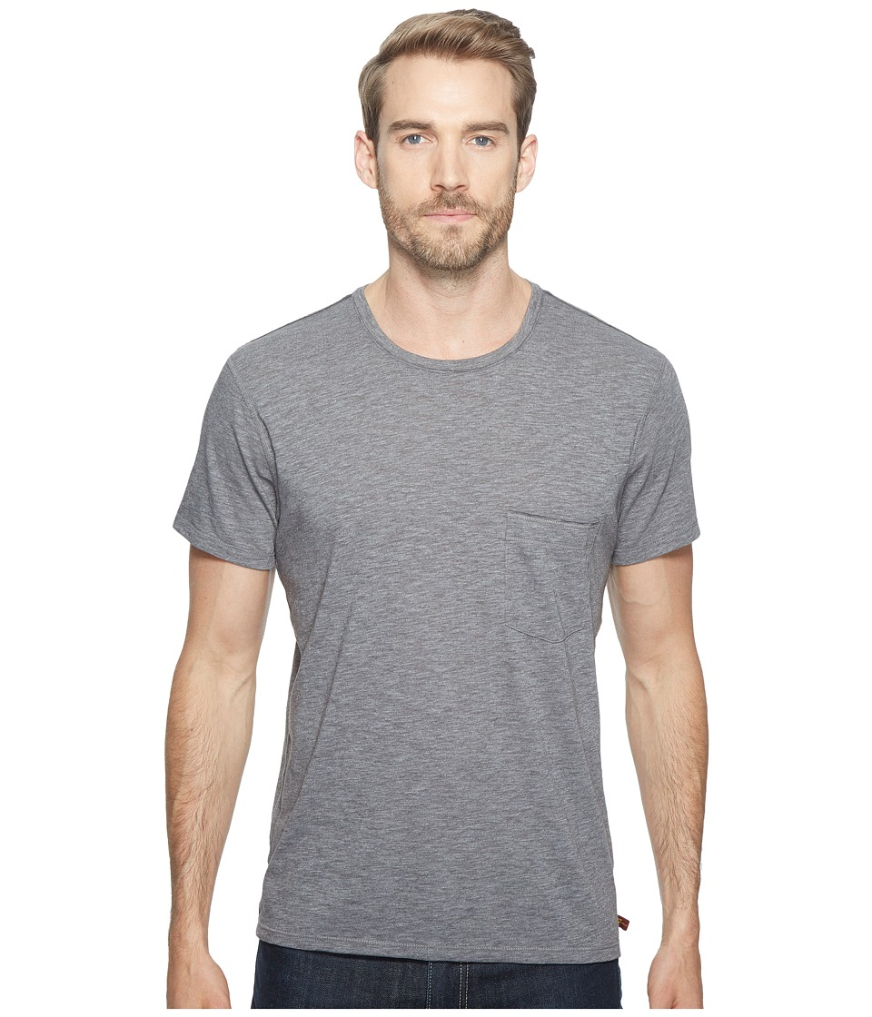 7 For All Mankind - Short Sleeve Raw Pocket Crew (Heather Grey) Men's Clothing