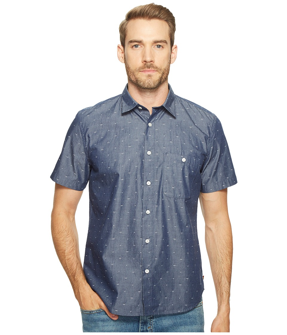 7 For All Mankind - Short Sleeve Mini Bikini Print Shirt (Navy) Men's Clothing