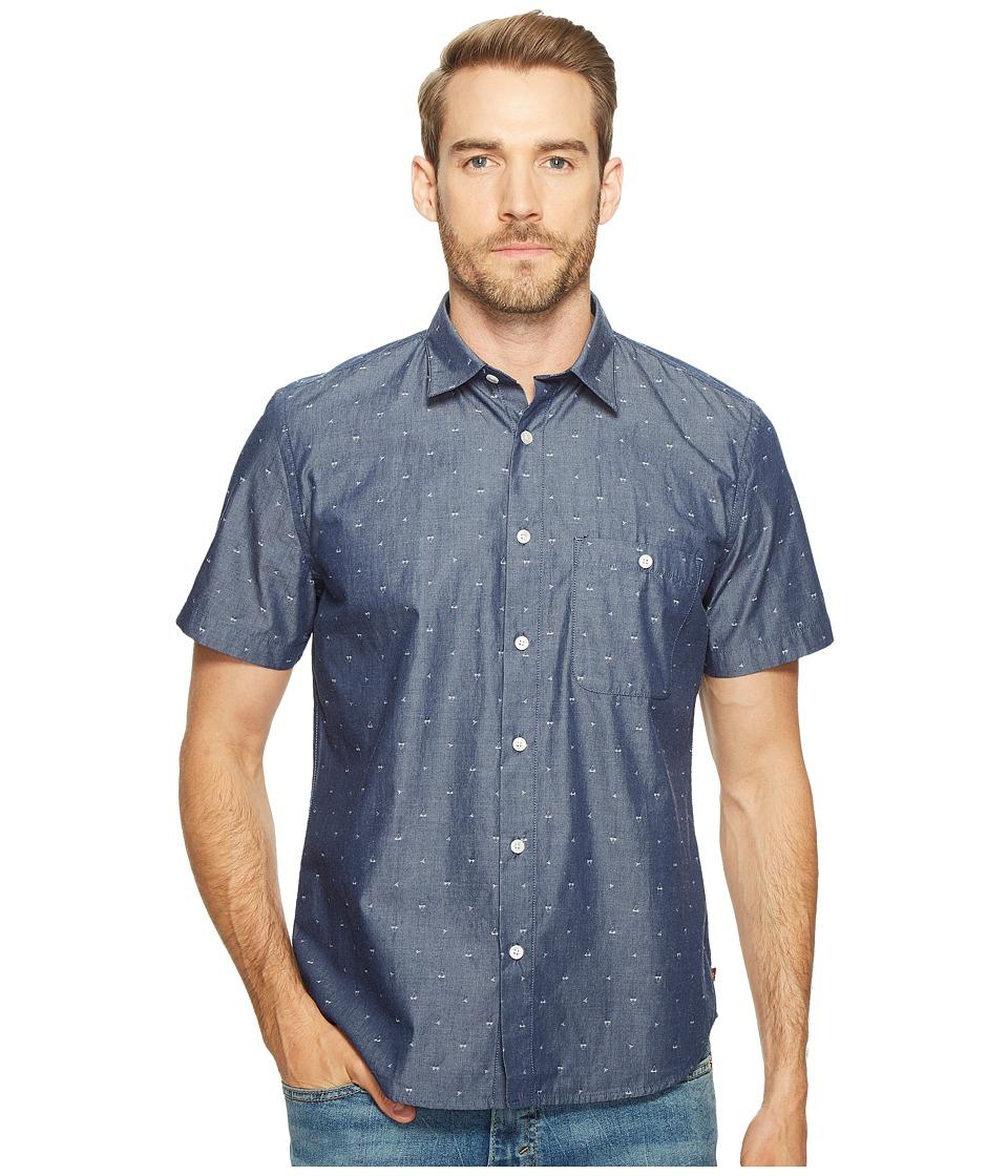 7 For All Mankind - Short Sleeve Mini Bikini Print Shirt (Navy) Men's Clothing
