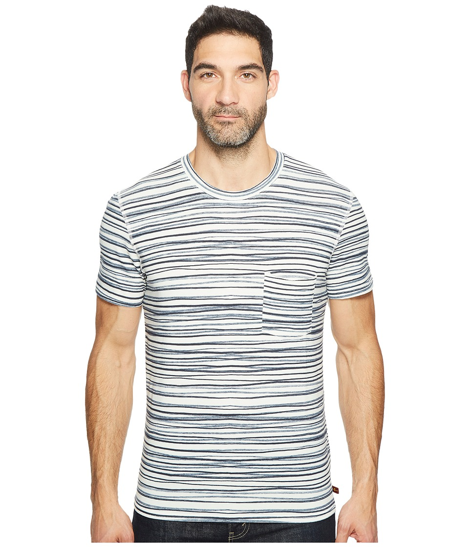 7 For All Mankind - Short Sleeve Abstract Stripe Tee (Navy Stripe) Men's T Shirt