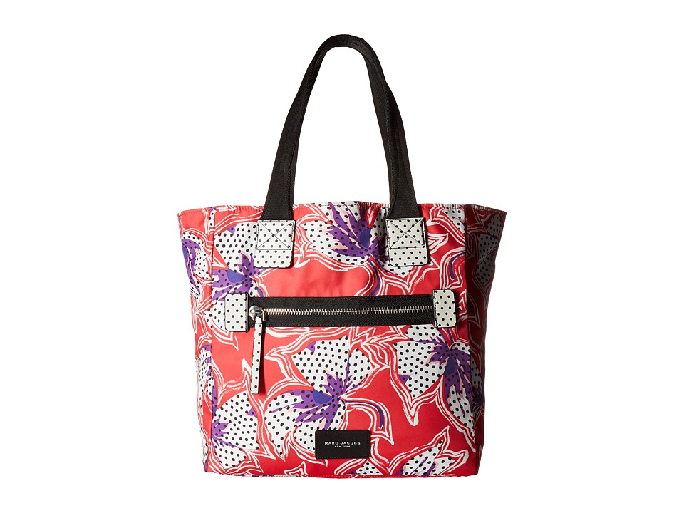Marc Jacobs - Spotted Lily Printed Biker North/South Tote (Red Multi) Tote Handbags