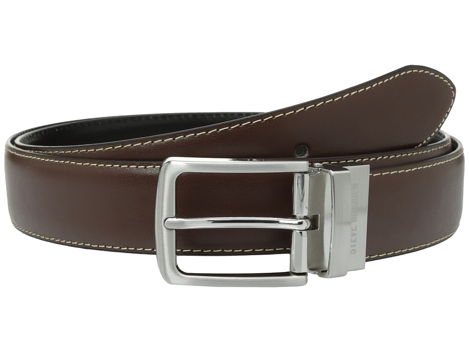 Steve Madden - 35mm Casual Feather Edge Reversible Belt (Brown/Black) Men's Belts