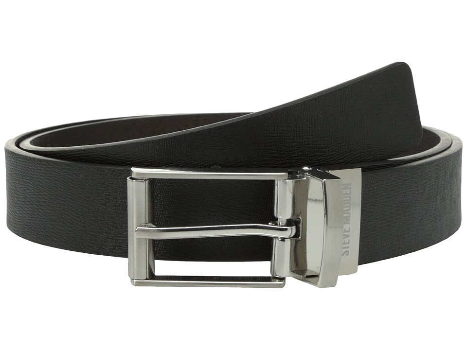 Steve Madden - 32mm Saffiano Reversible Belt (Black/Brown) Men's Belts