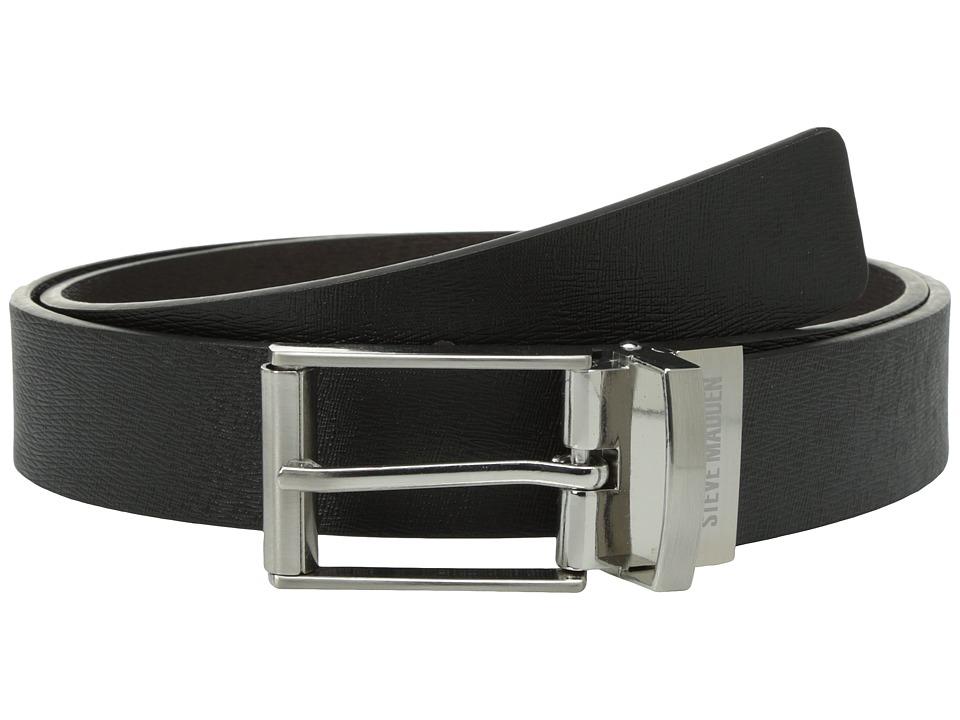 Steve Madden - 32mm Saffiano Reversible Belt (Black/Brown) Men's Belts