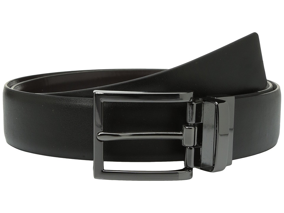 Steve Madden - 35mm Smooth Reversible Dress Belt (Black/Brown) Men's Belts