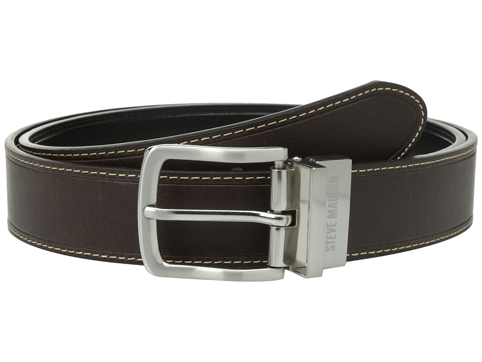 Steve Madden - 35mm Oil Tanned Reversible Belt (Brown/Black) Men's Belts