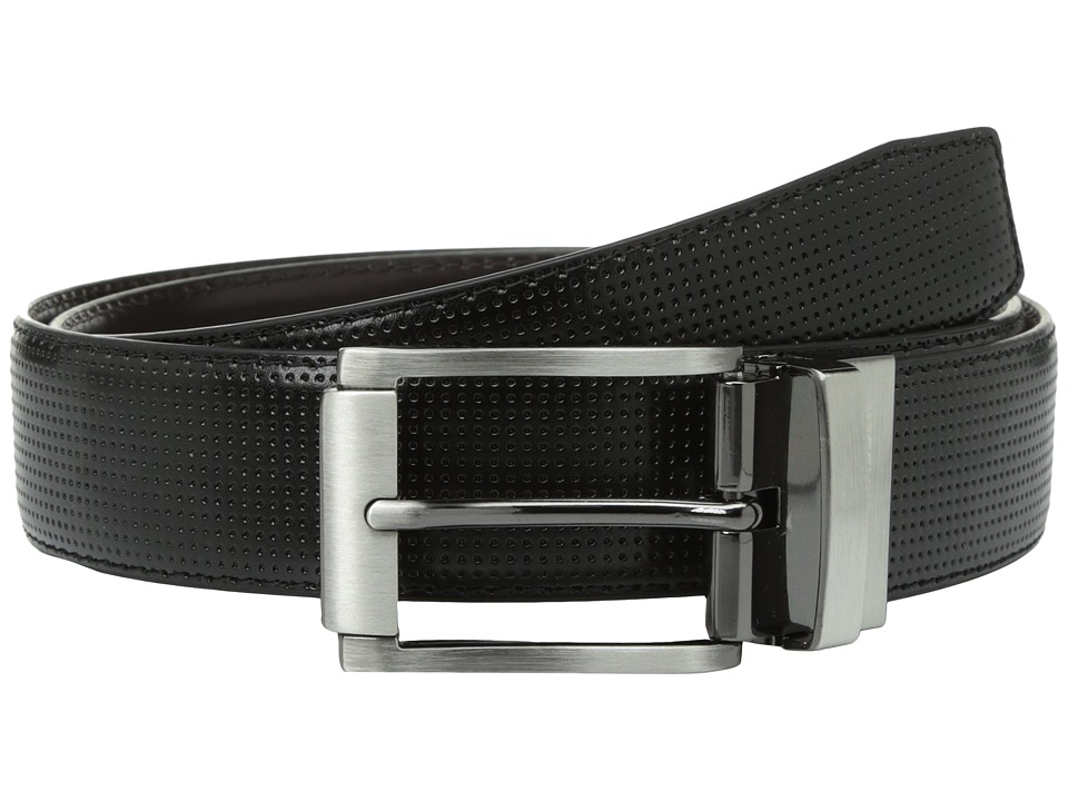Steve Madden - 35mm Perforated Dress Belt (Black/Brown) Men's Belts