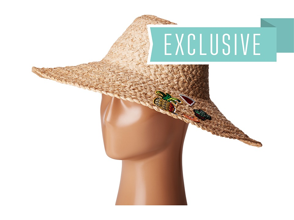 Hat Attack - Thick Braid Sun Hat w/ Cactus Fruit Patches (Pineapple/Watermelon/Cactus/Orange) Caps