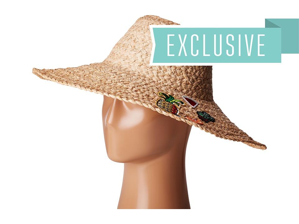 Hat Attack - Thick Braid Sun Hat w/ Cactus Fruit Patches (Pineapple/Watermelon/Cactus/Orange) Caps