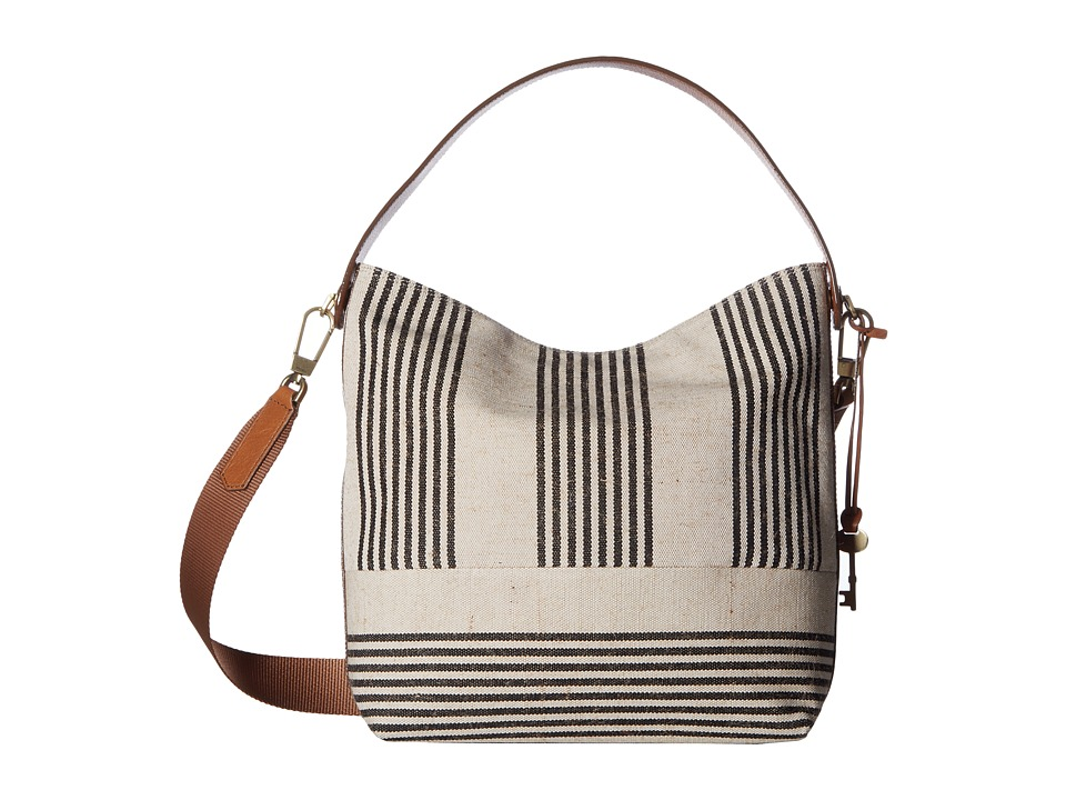 Fossil - Maya Hobo (Black Stripe) Hobo Handbags