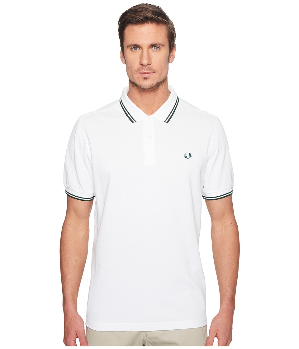 Fred Perry - Twin Tipped Shirt (White/Ivy) Men's Short Sleeve Knit