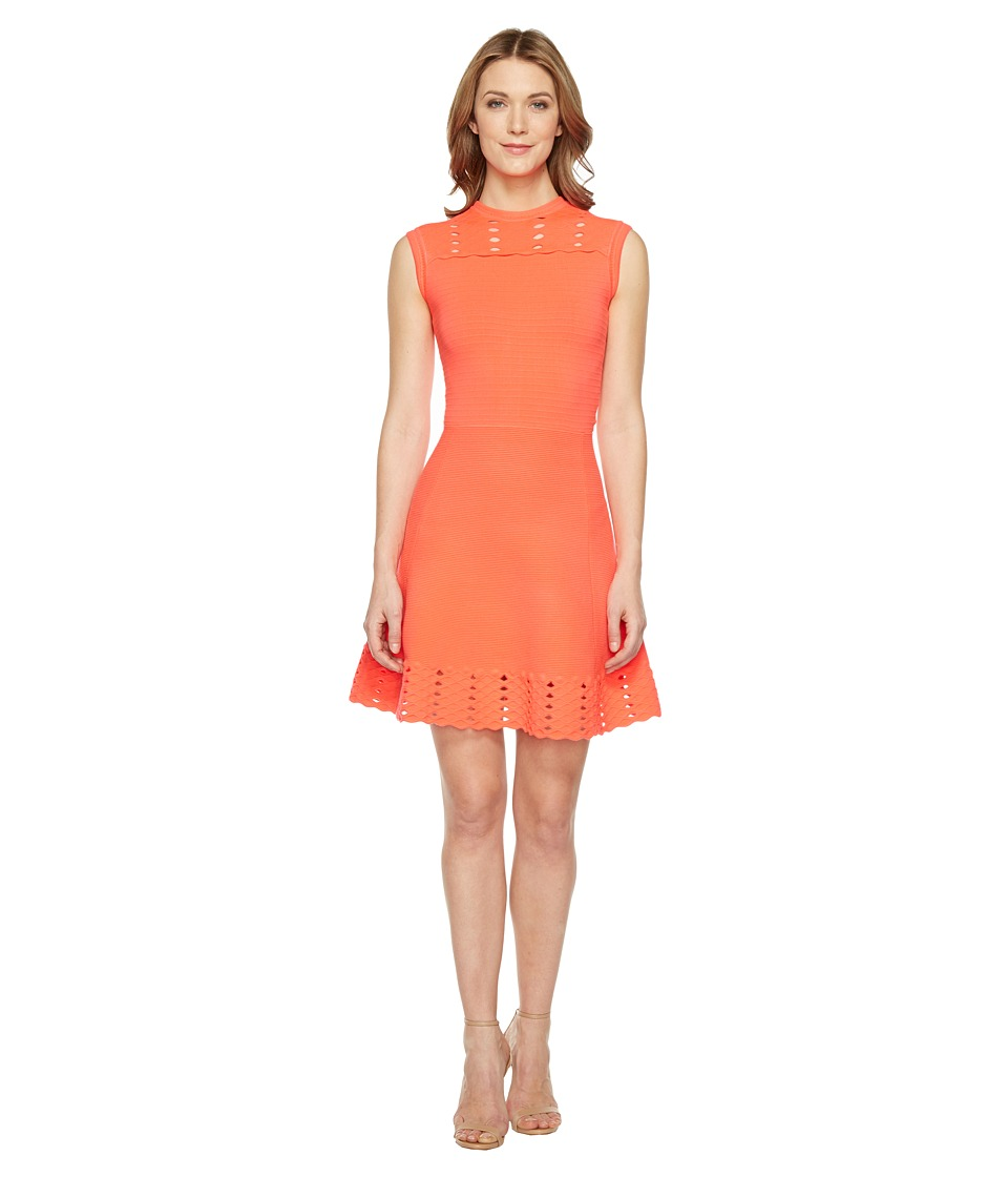 Ted Baker - Jacquard Panel Skater Dress (Mid Orange) Women's Dress