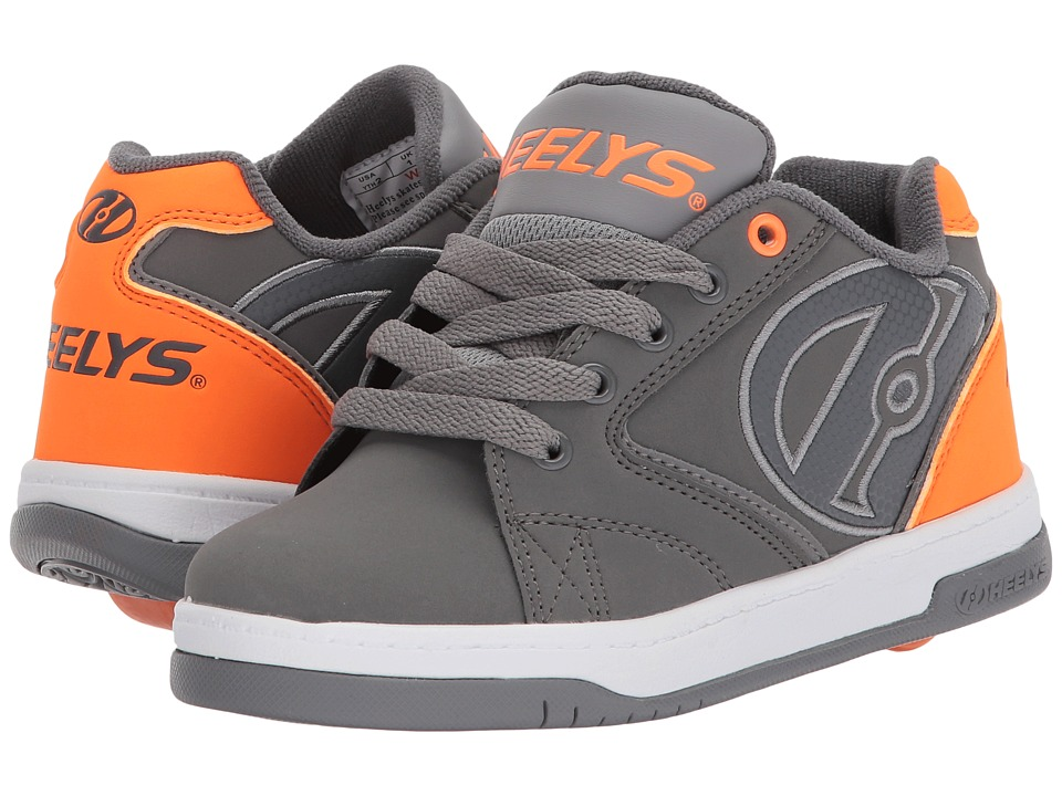 Heelys Propel 2.0 (Little Kid/Big Kid) (Charcoal/Orange/Grey) Boys Shoes