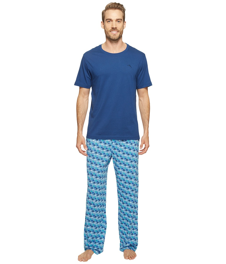 Tommy Bahama - Short Sleeve Jersey Two-Piece Pajama (All Palm Trees) Men's Pajama Sets