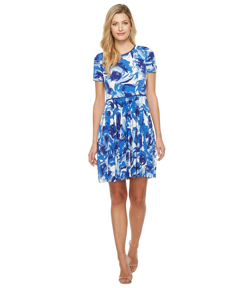 Maggy London - Brushed Bud Jersey Git Flare Dress (Blue) Women's Dress