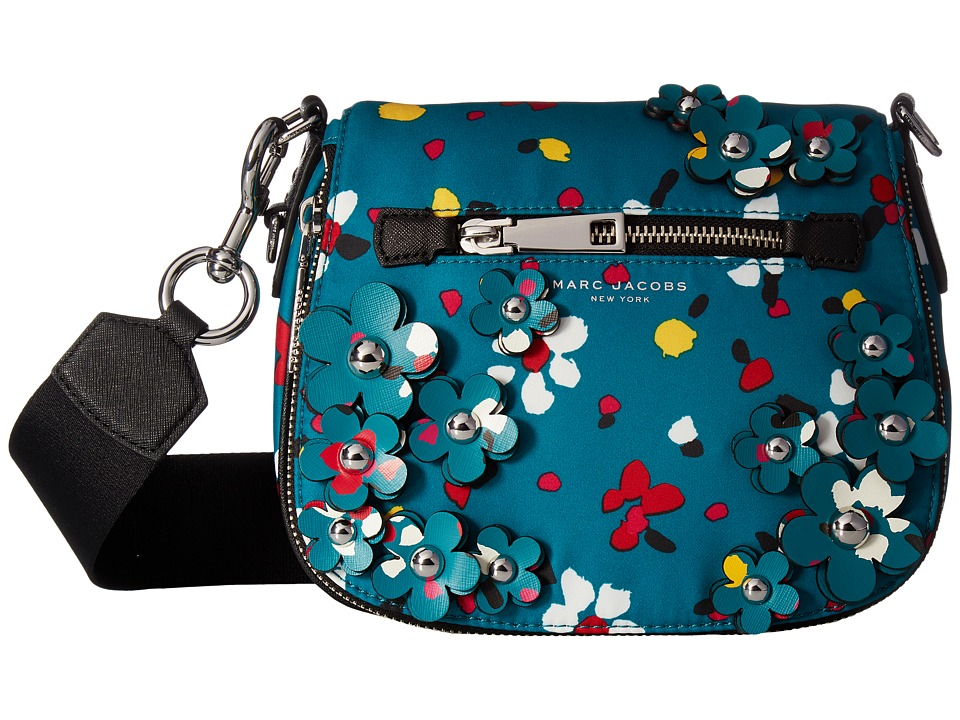 Marc Jacobs - 3D Painted Flowers Small Nomad (Turquoise Multi) Handbags
