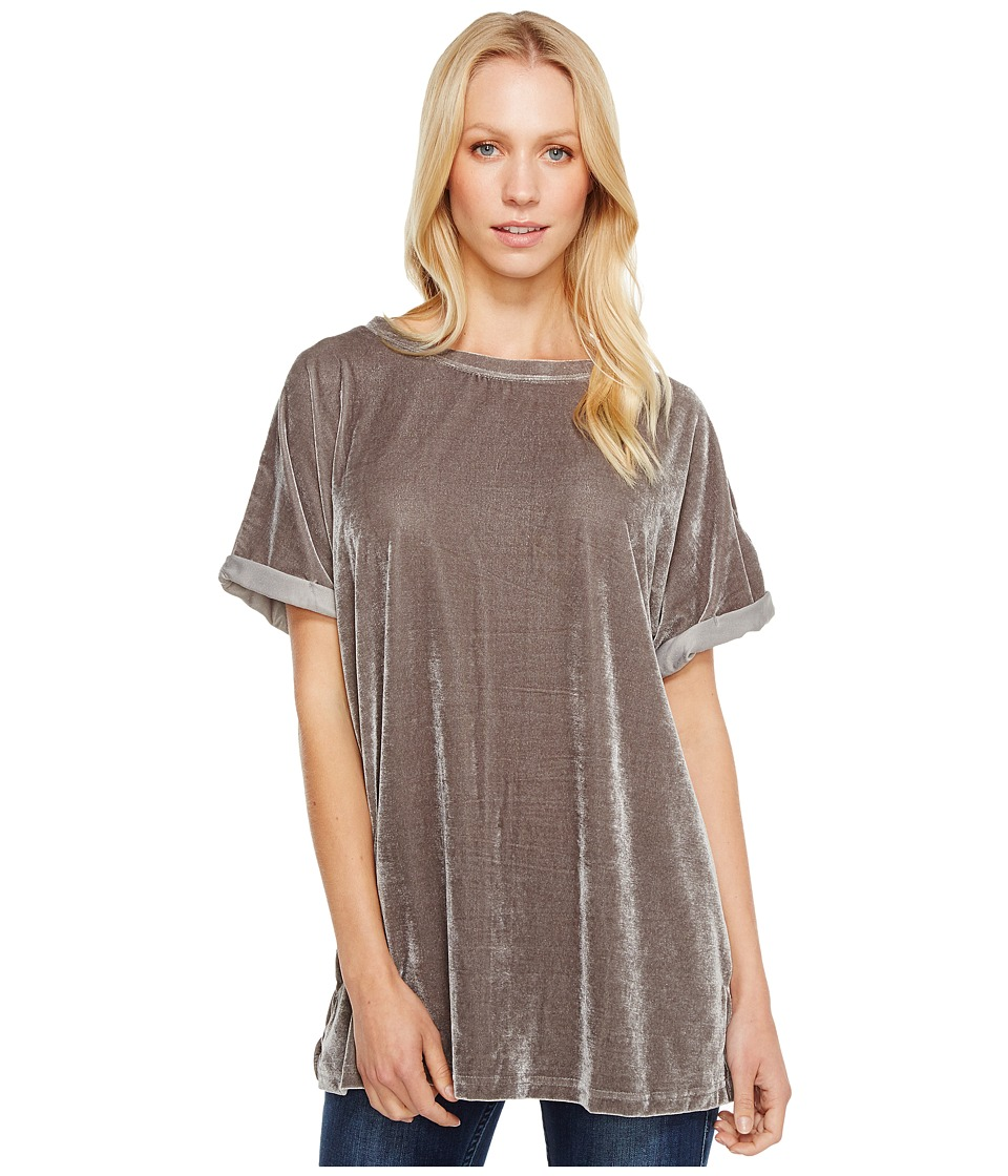 Brigitte Bailey - Ellis Short Sleeve Velvet Top (Grey) Women's Dress